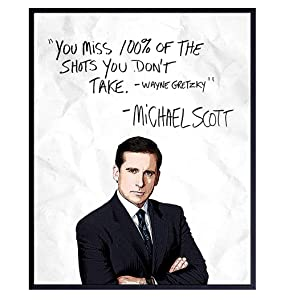 Michael Scott, Wayne Gretzky Quote From The Office - 8x10 Typography Wall Art Poster Print for Room Decor, Home or Apartment Decoration - Funny Affordable Gift - Unframed Picture