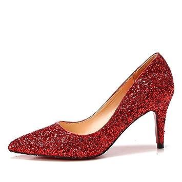 MUYII Frauen Cinderella Kristall High Heels Braut Hochzeit Schuhe Feine Stiletto Glitter SandalenRed-9.5CM-33