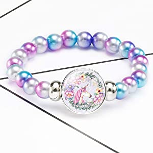 Pibupibu 2 Packs Round Bead Pearl Colorful Charms Stretch Bracelet Set Girls Teens Women