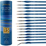 Artecho Detail Paint Brushes Set, Detail Art Brushes 15 Different Sizes for All Levels and Purpose Watercolor Oil…