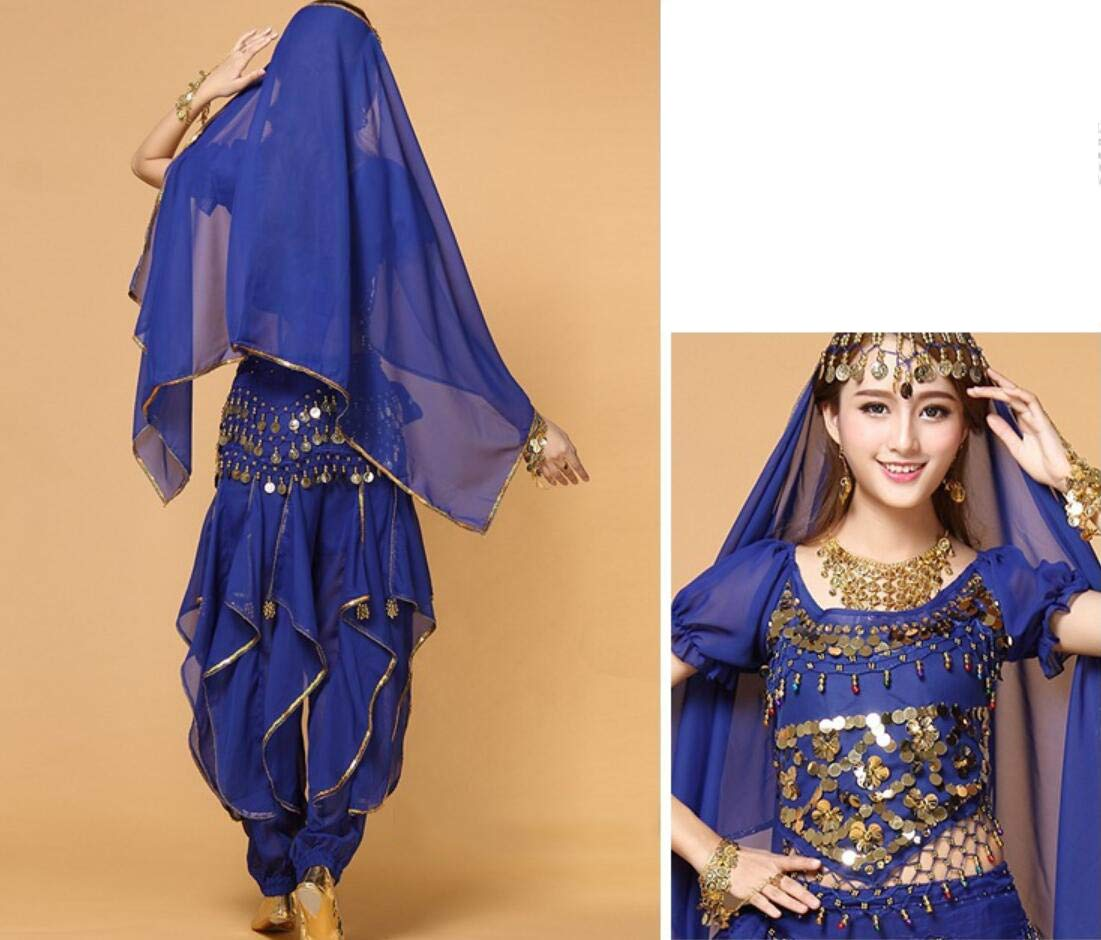 ZYLL 4 Piece Set Adult Indian Dance Costume,Bollywood Dancer Adult Costume Ladies Belly Dance Dress