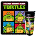 "Nickelodeon's Teenage Mutant Ninja Turtles, ""Retro Fighters"" 16 oz Travel Mug & 50"" x 60"" Fleece Throw Blanket Gift Set, Multi Color"