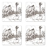 Ambesonne Windmill Coaster Set of Four, Rustic Barn Farmhouse Hand Drawn Illustration Countryside Rural Meadow, Square Hardboard Gloss Coasters for Drinks, Dark Brown and White