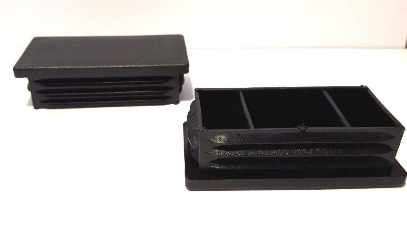 schwarz Wandst/ärke 1,5-2mm Aussenma/ß 35x15mm OL 20 Stopfen f/ür Rechteckige Rohre