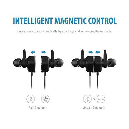 Auriculares Bluetooth Mpow Auriculares magnético inalámbrico auriculares, [nueva versión] auriculares inalámbricos estéreo deporte running auriculares con ...