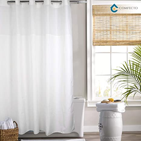 Hookless Shower Curtain By COMFECTO Waterproof Polyester 70x74 Inch Hotel Bathroom Curtains With Light Filtering