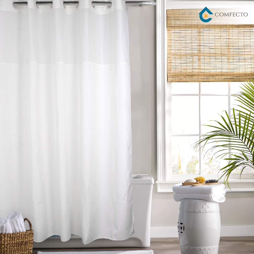 Hookless Shower Curtain by COMFECTO Waterproof Polyester 70x74 Inch Hotel Bathroom Curtains with Light-Filtering Mesh Screen and Magnets, Premium ABS Flex-On Rings, Machine Washable - White Curtains