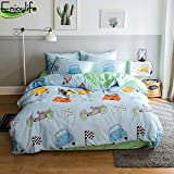 Enjoylife Reversible 3 Pieces Cars Duvet Cover Cartoon Animal Print Bedding Set 100% COTTON Quilt Cover Twin Size for Boys/Girls