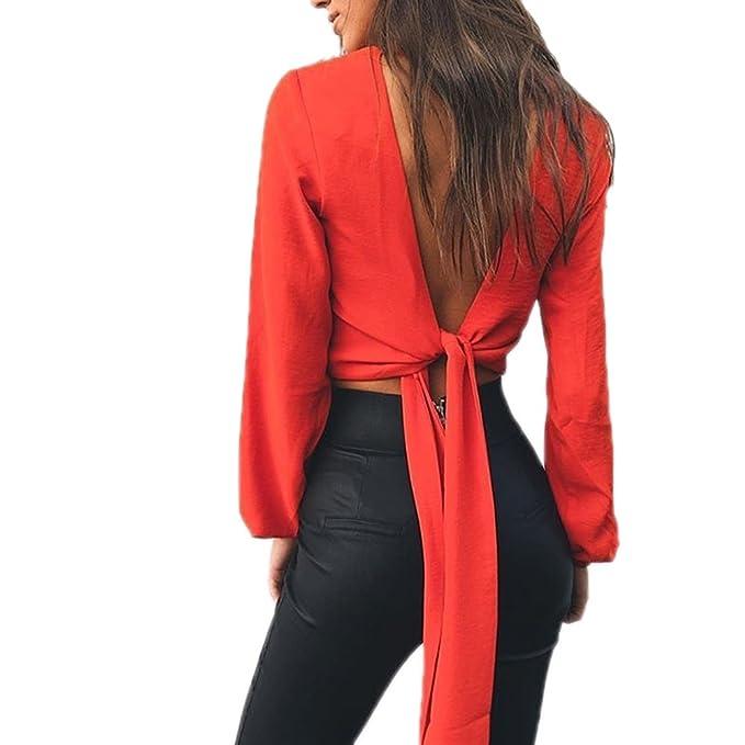 3eb6c4a969af3b Yizenge Women s Chiffon Sexy V-Neck Backless Long Sleeve Bandage Crop Top  Blouse Shirt (