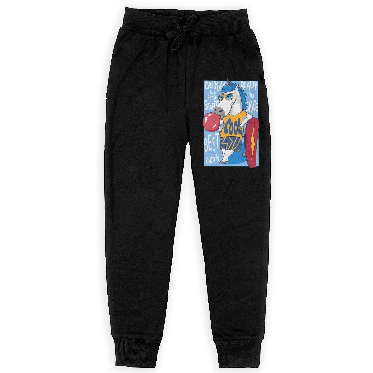 Boys Cotton Jogger Sweatpants Unicorn Skateboarder Adjustable Waist Trousers with Pocket