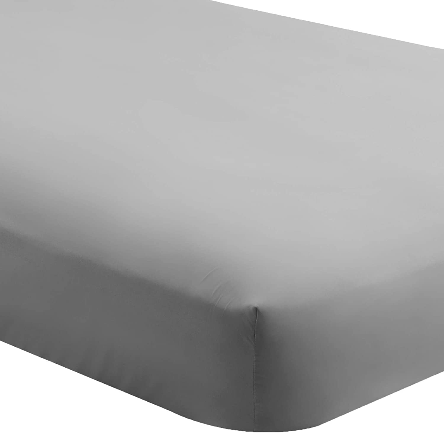 Bare Home Fitted Bottom Sheet Queen - Premium 1800 Ultra-Soft Wrinkle Resistant Microfiber - Hypoallergenic - Deep Pocket (Queen, Light Grey)
