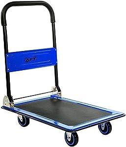 Push Cart Dolly AFT PRO USA Push Platform Truck Folding Rolling Flatbed Cart 360 Degree Swivel Wheels Foldable Handle (Blue, 330LB)