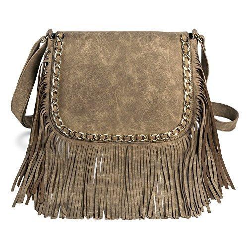 - Mossimo Women's Fringe Crossbody Bag with Chain Detail (Khaki)