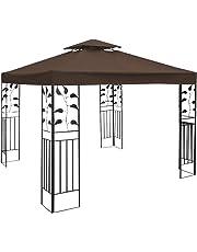 COSTWAY 3x3m Garden Gazebo Top Cover Roof Replacement Tent Canopy Fabric 1-Tier 2-Tier (Beige/Dark Green/Red)
