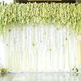 Mavee 12 Piece Artificial Silk Wisteria Vine Ratta Hanging Flower for Wedding Décor, White
