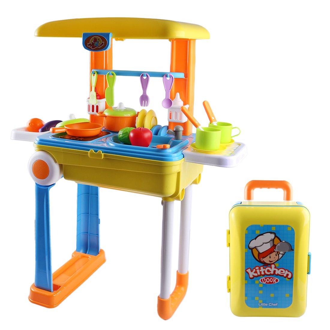 Tosbess Accesorios de Cocina de Juguete Set de Juguete Apto Cocinita Plegable en Maleta Convertible Maletín de Juegos para Niños de 3 Años