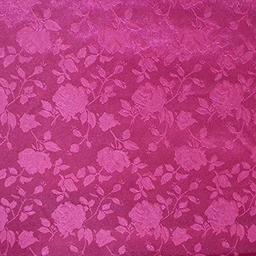 Fuchsia Satin Floral Jacquard Fabric 58 inches wide sold by the yard