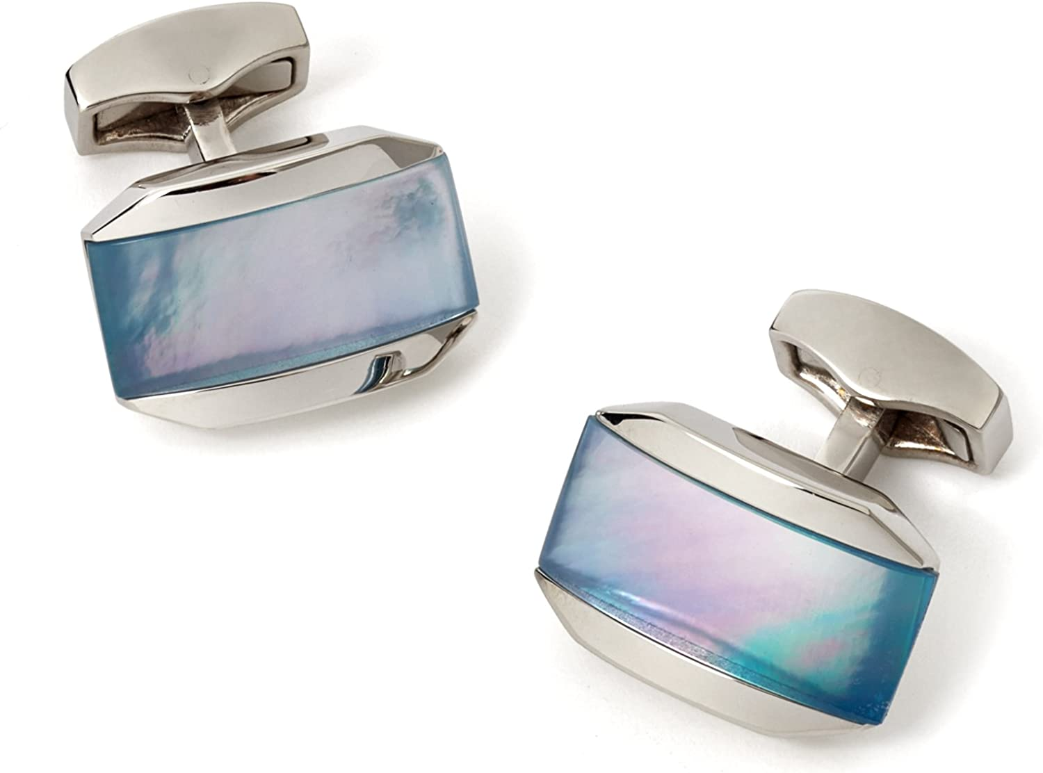 Tateossian Moonlight Cufflinks with Mother of Pearl Combined with a Cabochan of Quartz in a Rhodium Silver Tonneau Case