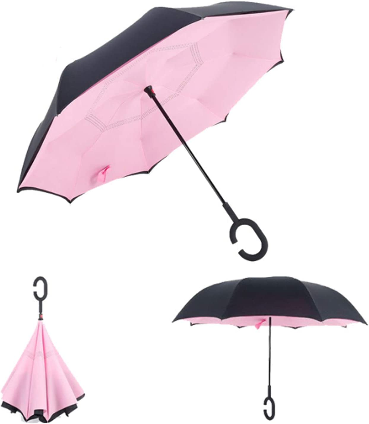 DropShipping Folding Reverse Umbrella Double Layer Inverted Windproof Rain Car Umbrellas For Women Man,Sunflower