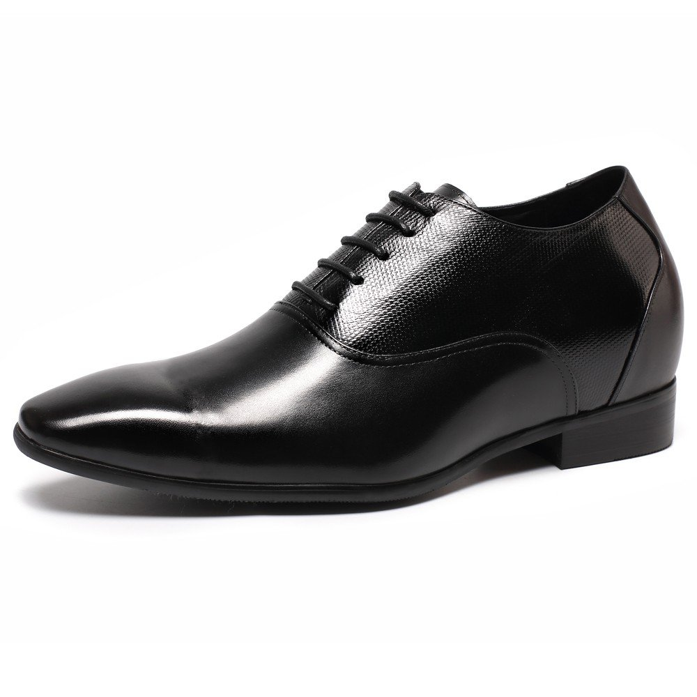 CHAMARIPA height Increasing Elevator Shoes - Mens Leather Black Oxford Dress Shoes - 2.96 inches K4022 8 D(M) US