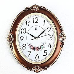 FortuneVin Wall Clock Non-ticking Number Quartz Wall Clock Living Room Decorative Indoor Bedroom Kitchen Mute Oval Figures Carved Creative Quartz Clock  40X33Cm