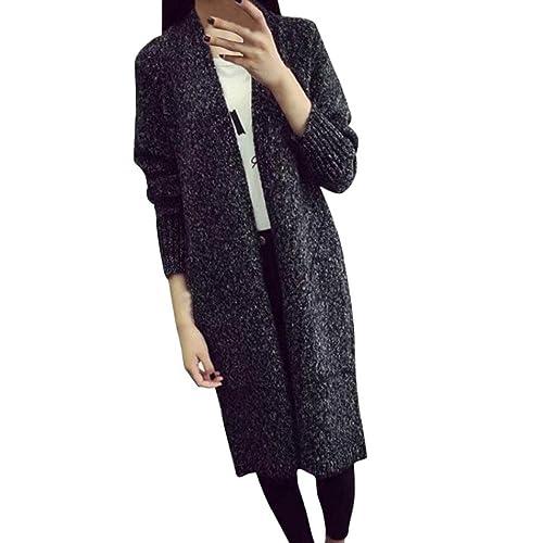 Internet Rebeca de punto de lana suelta de manga larga para mujer Cardigan Outwear Coat
