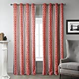 MICHELE HOME FASHION 25 (Set of 1 panel) (100″ W x 108″ L) Rod Pocket Print Repetitive Chinese Red Geometric Patterns Blackout Lining Window Treatment Draperies & Curtains Panels Review