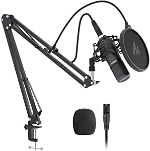 XLR Condenser Microphone Kit MAONO AU-PM320S Professional Cardioid Vocal Studio Recording Mic for Streaming, Voice Over, Project, Home-Studio