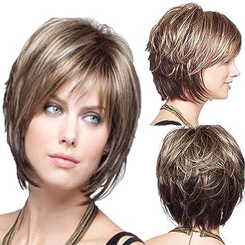 Frauen Perucke Kurze Braune Lockiges Haar Damen Naturliche