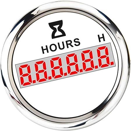 Perfk Digital Betriebsstundenzähler Lcd Stundenzähler Zeitzähler 52mm Für Traktor Boot Marine Wohnmobil Bagger Weiß Auto