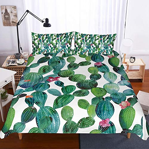 REALIN Tropical Zone Cactus Bedding Succulent Duvet Cover Set Tropical Cacti Plants Leaf Bed Sets for Childs Adult,2//3//4PCS Microfiber Quilt Covers//Sheets//Pillow Shams,Twin//Full//Queen//King Size