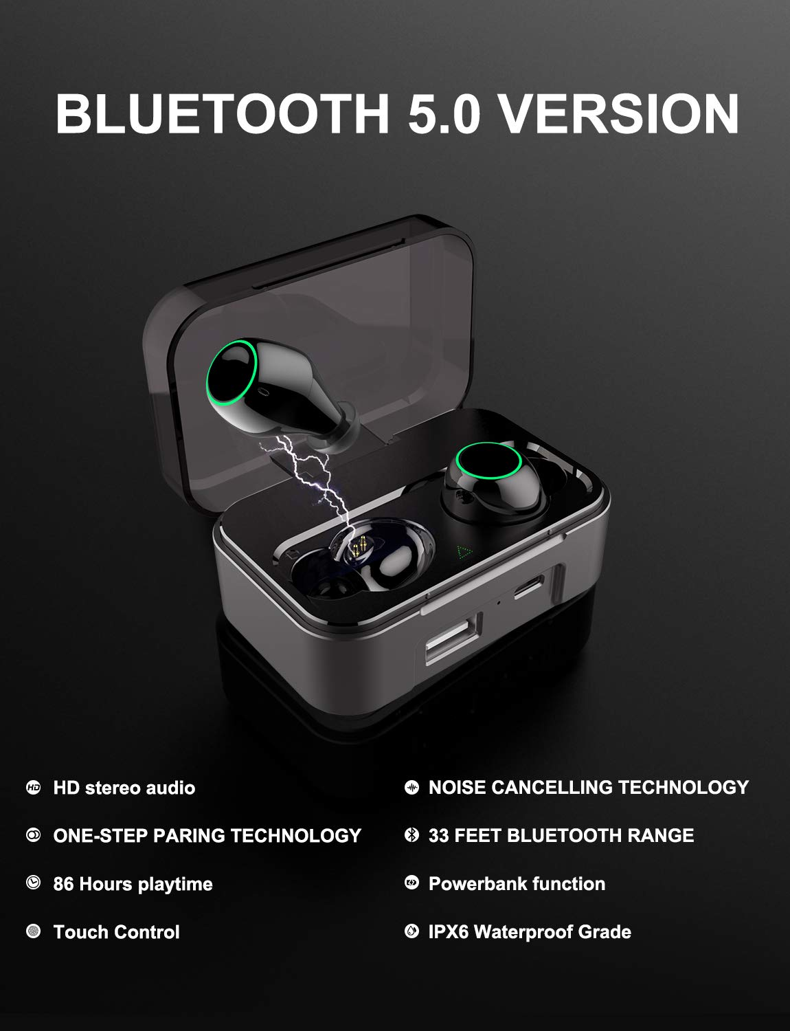 AMINY Bluetooth 5.0 Wireless Earbuds Touch Control Wireless Bluetooth Headphones with 86H Playtime Deep Bass Stereo Sound 33 ft Bluetooth Range Perfect Portable Charging Case, Built-in Mic