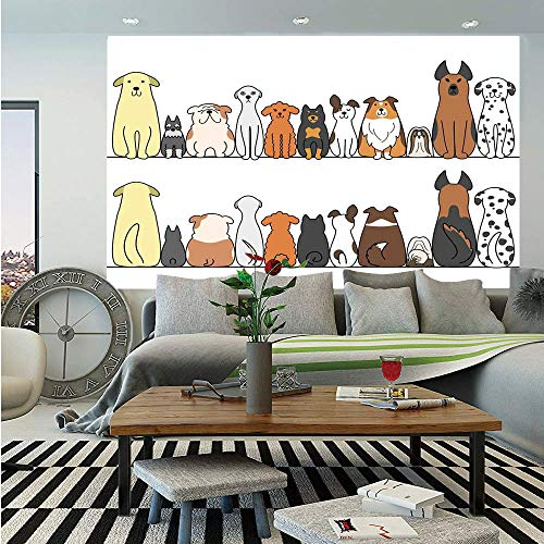 - SoSung Dog Lover Decor Wall Mural,Multicultural Dog Family in a Row from Back and Front Views Companionship Comic Art,Self-Adhesive Large Wallpaper for Home Decor 83x120 inches,Yellow Brown