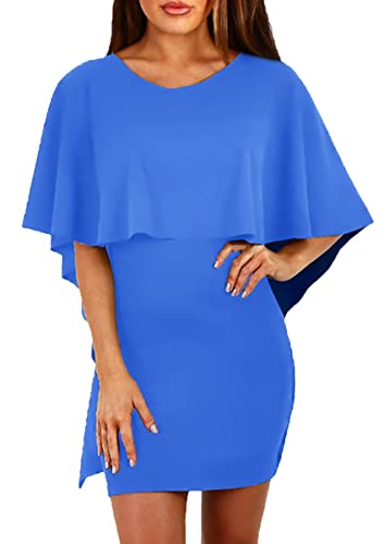 Delcoce Womens Hot Batwing Flutter Sleeve Stretch Bodycon Party Clubwear Dresses