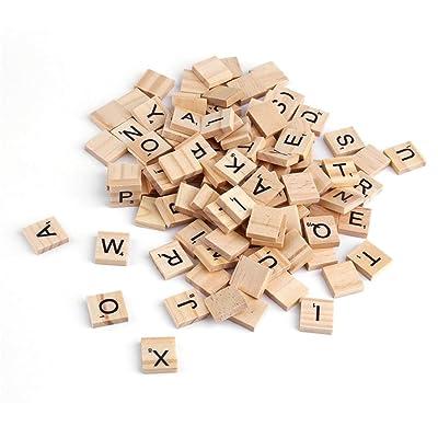100 UNIDS Alfabeto De Madera Azulejos Letras Negras para Scrabble Niño Niño Dibujo Educativo Pintura Juguete de Regalo ToGames-ES: Juguetes y juegos
