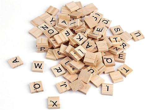 WEIHAN 100 UNIDS Azulejos De Alfabeto De Madera Letras Negras para Scrabble Kid Niño Educativo Dibujo Pintura Juguete de Regalo: Amazon.es: Juguetes y juegos