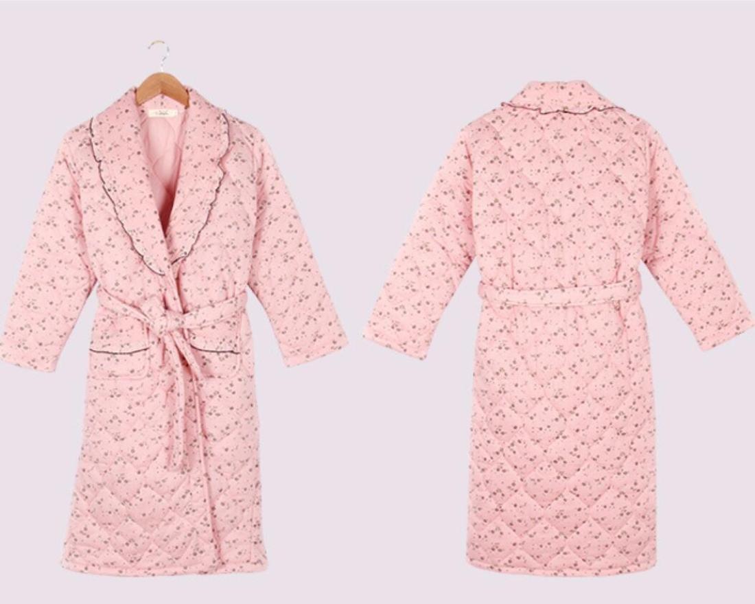 GL&G El nuevo otoño e invierno mujer modelos mujeres embarazadas camisón pijama tres capas más gruesas más grande de algodón acolchado invierno batas,XL: ...