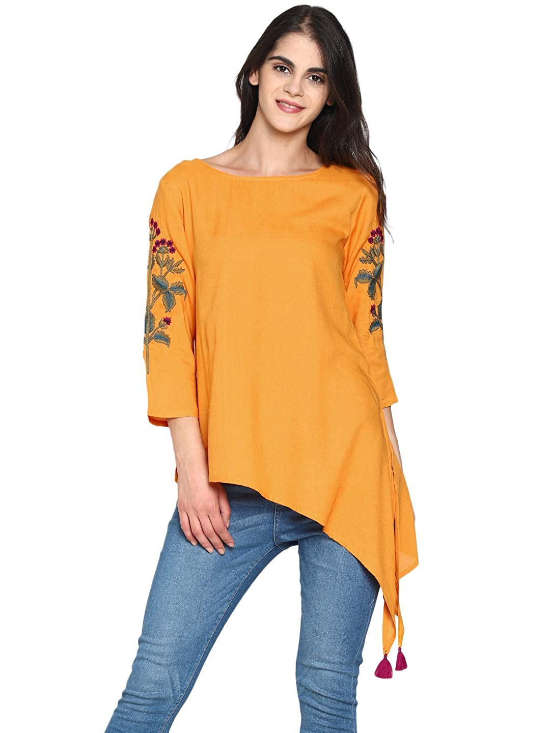 0161cb6b7d2c0 UNTUNG Women Mustard High low tunic with embroidered sleeves  Amazon.in   Clothing   Accessories