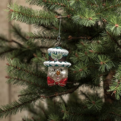 MERCURY GLASS SNOWMAN HEAD WITH RED BOWTIE ORNAMENT SET/2 (Snowman Glass Ornament Mercury)