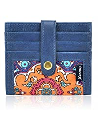 Front Pocket Wallet Credit Card Holder Card Wallet with Button Bifold Card Case for Men and Women (Blue)