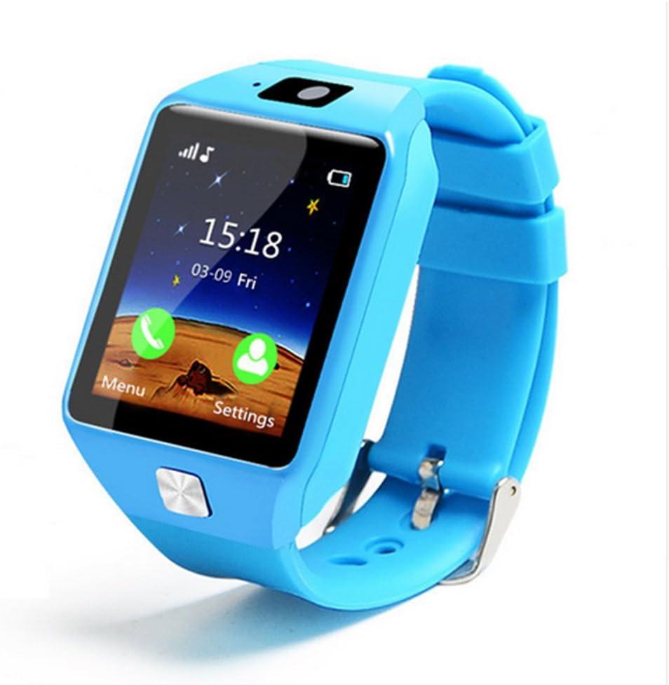 Reloj inteligente para niños, 1,54 pulgadas EU9 teléfono celular reloj – GPS/LBS monitor de sueño monitor podómetro reloj voz Chatting compatible con iOS/Android Tamaño libre azul