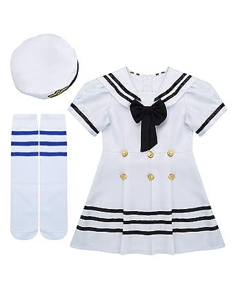 iixpin - Disfraz de Marinero para niña (3 Piezas) Juego de Ropa de ...
