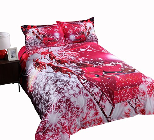 Alicemall 3D Red Christmas Bedding Santa Claus Riding Sleigh in Red Sparkling Stars Tencel Cotton Blend 4 Pieces Duvet Cover Set, Queen Size Quilt Cover Bedding (Queen, Santa Claus)