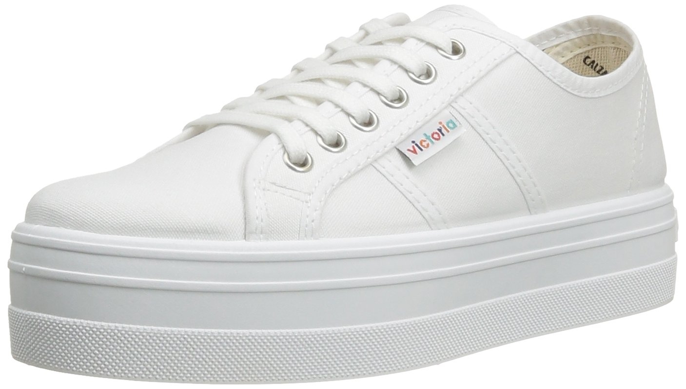 Victoria Womens Platform Canvas Lace up Sneaker B00BZR77X0 36 EU / 5-5.5 US Women|White