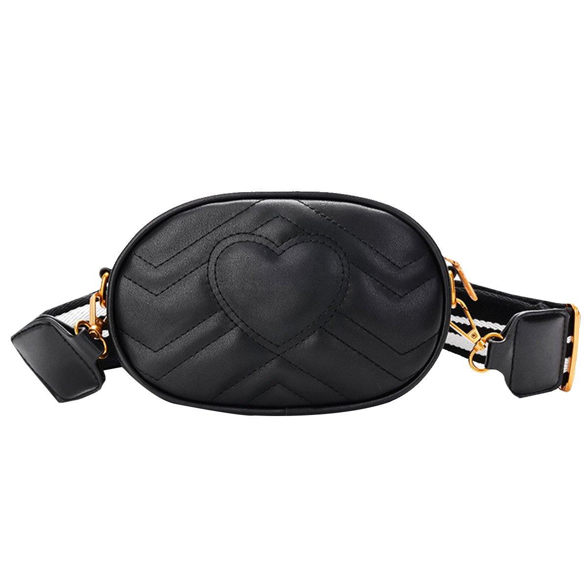 Mily Fashion Women Elegant PU Leather Waist Bag Love Shape Pattern Embroidery Cross Body Bag Fanny Packs