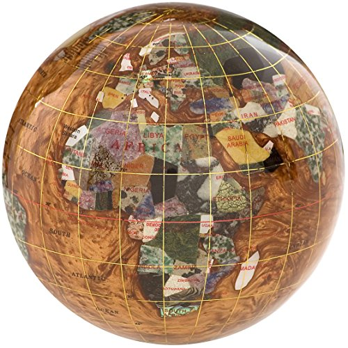 - Gemstone Globe Paperweight with Opalite Ocean Color: Copper Amber, Size: 4