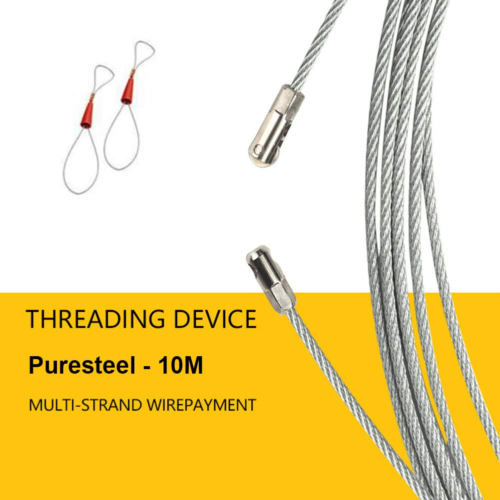 ASOSMOS Electrician Wire Cable Threading Device Running Puller Leads with 2pcs Steel Rope Connector