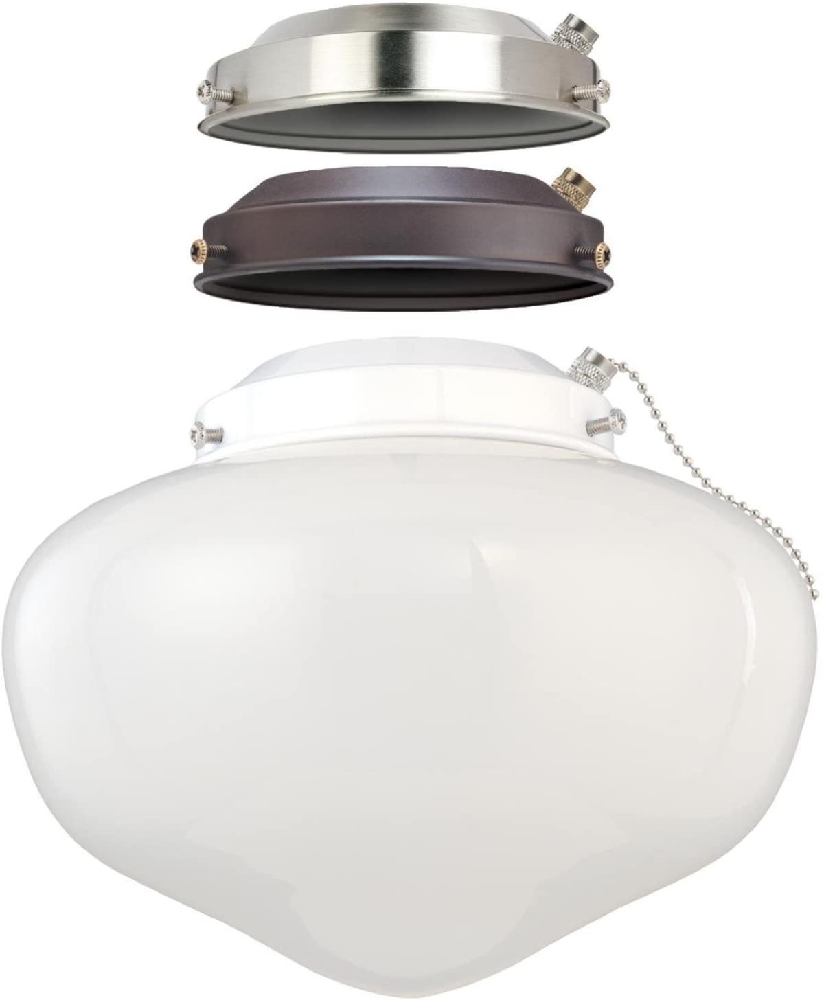 Westinghouse Lighting 7785200 Led Schoolhouse Indoor Outdoor Energy Star Ceiling Fan Light Kit Three Fitters With White Opal Glass Amazon Com