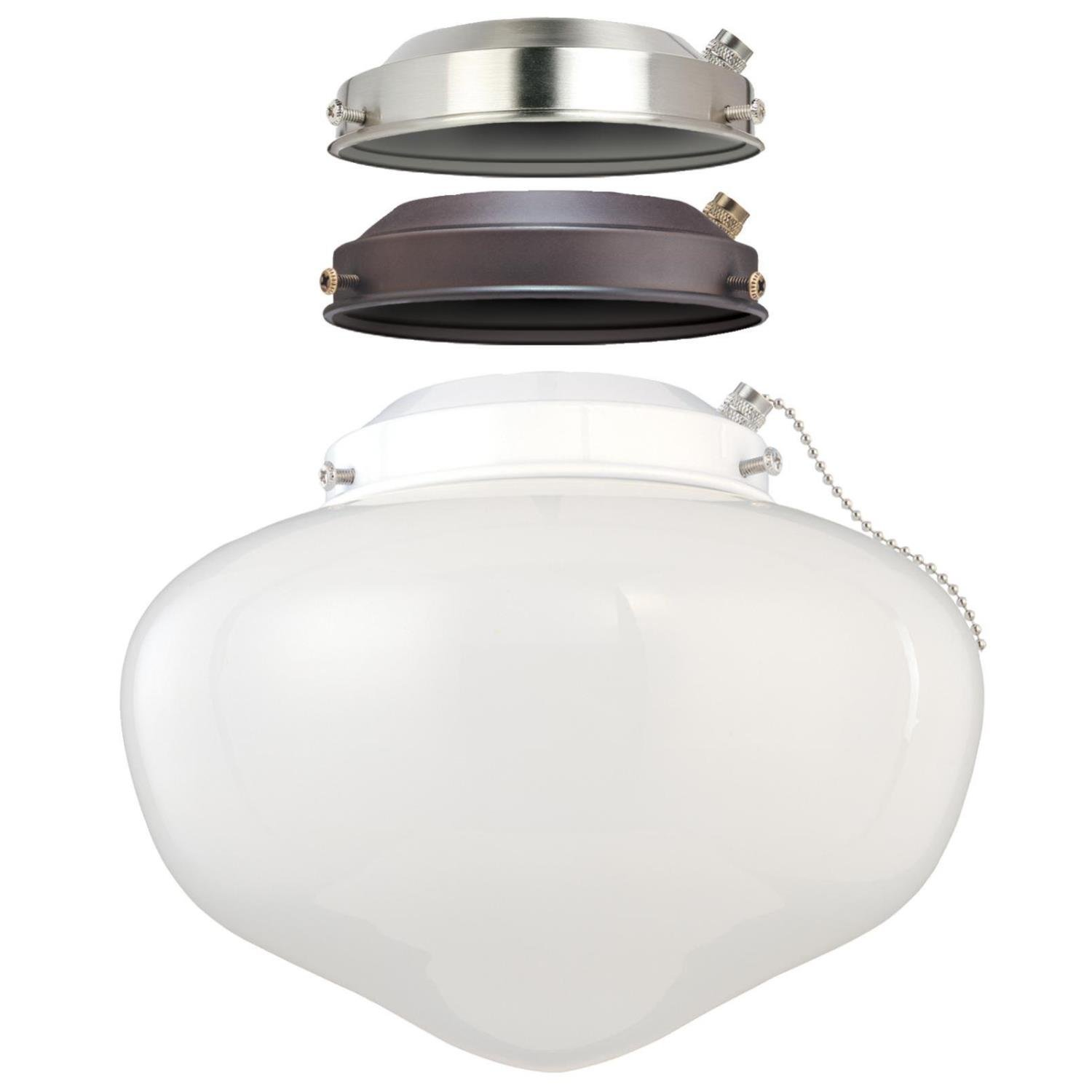 Westinghouse Lighting 7785200 LED Schoolhouse Indoor/Outdoor Energy Star Ceiling Fan Light Kit, Three Fitters with White Opal Glass by Westinghouse Lighting (Image #1)