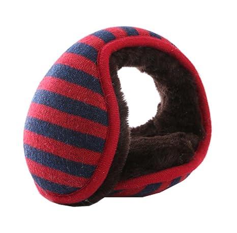 Mantenga su oído más cálido, Unisex plegable calentadores de oreja Fleece Winter EarMuffs, Rojo